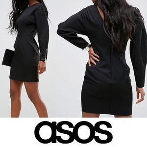 ASOS 80s Clean Dome Sleeve Midi Pencil Dress NWT 8